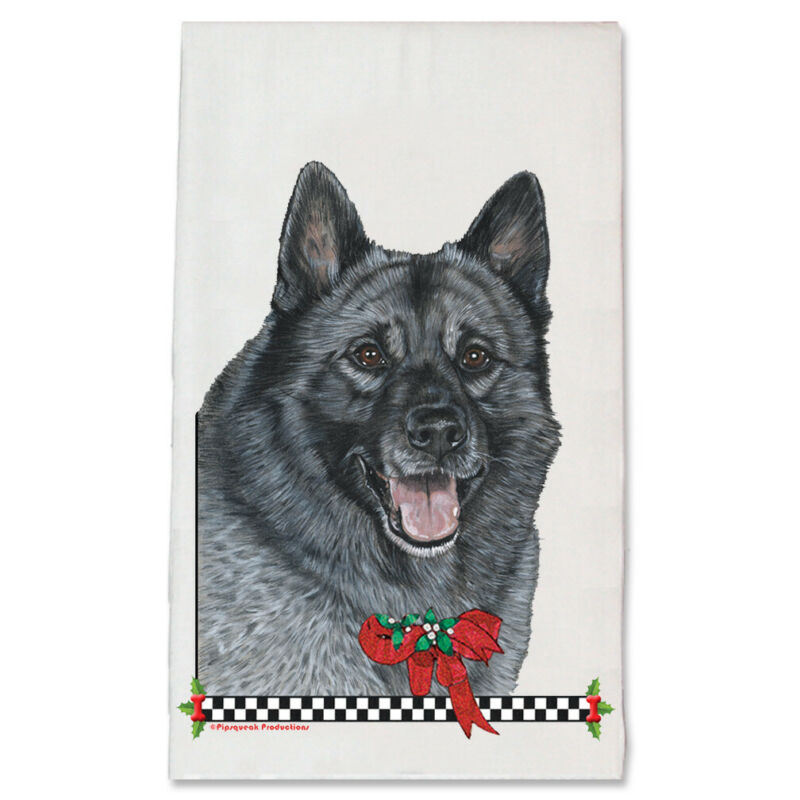 Norwegian Elkhound Christmas Kitchen Towel Holiday Pet Gifts