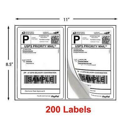 200 Half Sheet 8.5 X 5.5 Shipping Labels 2per Sheet Self Adhesive Round Corner