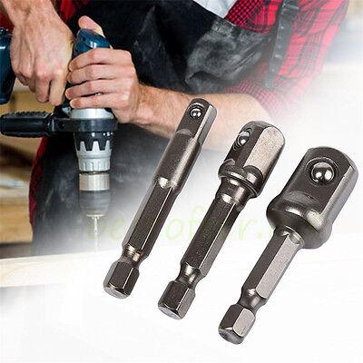 Socket Bit Adapter Drill Nut Driver Power Extension Bar 3pc Set 1/4