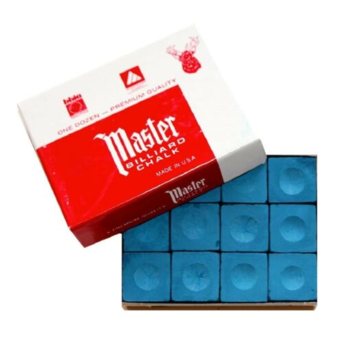 Master Blue Pool Cue Billiard Tip Chalk Dozen Box Cube 12 Tweeten