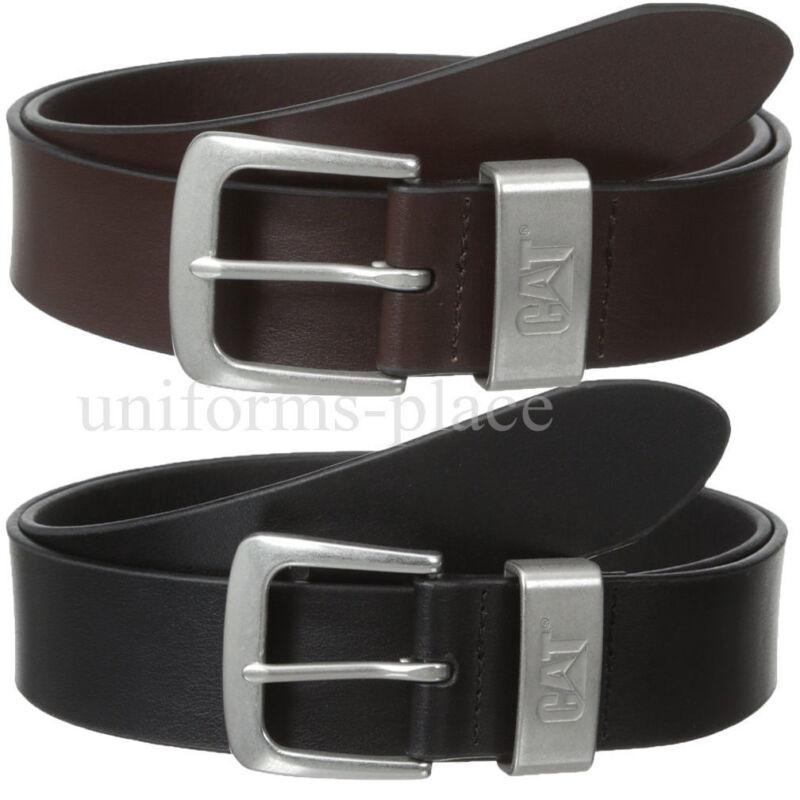 Caterpillar Leather Belt Mens 1 1/2 Cat Madison Black Brown Belts Nickel Buckle