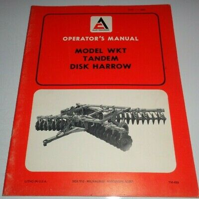 Allis Chalmers Wkt Tandem Disc Disk Harrow Operators Owner Manual Ac Original