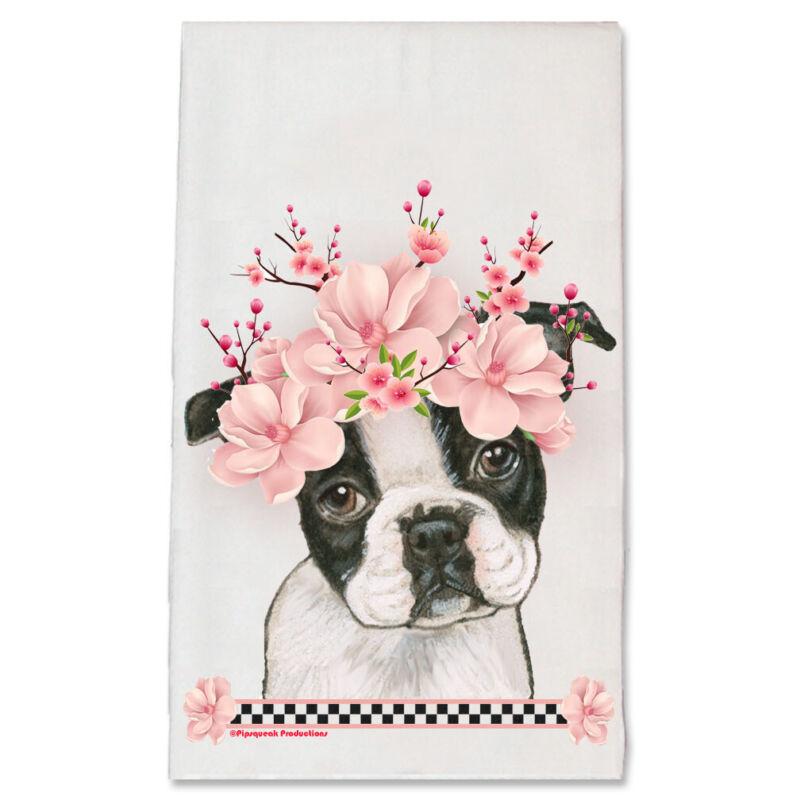 Boston Terrier Dog Floral Kitchen Dish Towel Pet Gift