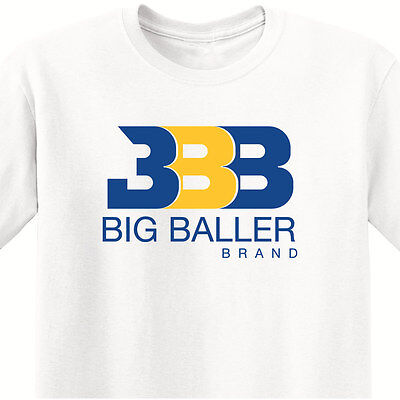 Bbb   Mens White T Shirt W  Royal   Gold Print   Los Angeles Showtime Lake Show