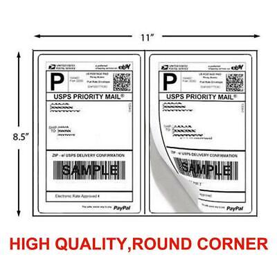 200 Shipping Labels 8.5 x 5.5 Half Sheets Round Corner 2Labe