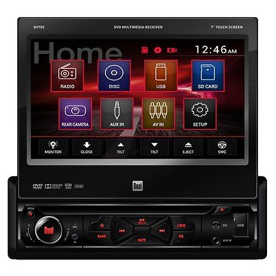 """Dual DV705 7"""" Single-DIN In-Dash Touch Screen DVD Car Stereo Receiver, Brand New"""