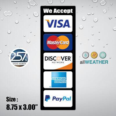 Credit Card Vinyl Sticker We Accept Visa Master Ae Paypal Cashier Store Door Pos