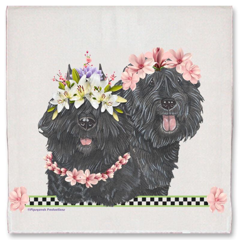 Bouvier des Flandres Dog Floral Kitchen Dish Towel Pet Gift