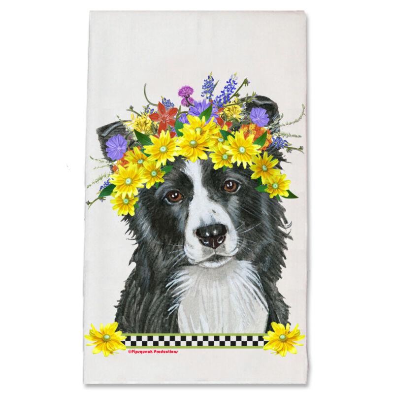 Border Collie Dog Floral Kitchen Dish Towel Pet Gift