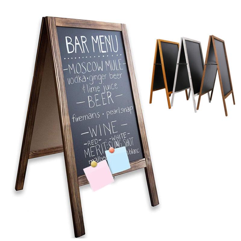 Large Outdoor Double Side Sidewalk Wooden A Frame Chalkboard Magnetic Sign Board