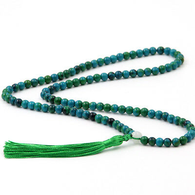 6mm Blue Green Gemstone Tibet Buddhist 108 Prayer Beads Mala Necklace