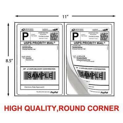 1000 Shipping Labels 8.5 X 5.5 Half Sheets Round Corner - 2 Label Per Sheet