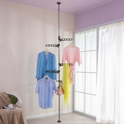 4 Layer Corner Clothes Hanger Stand Drying Rack Coat Tree Shelf Floor to Ceiling