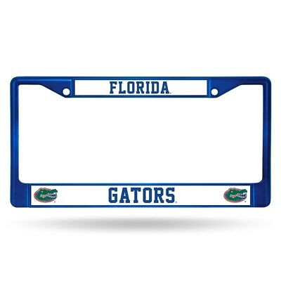 Florida Gators Ncaa Licensed Blue Painted Chrome Metal License Frame