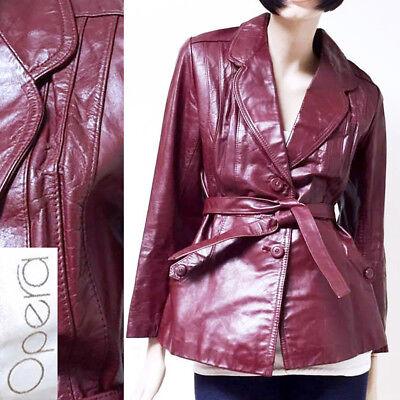 M/L Vintage 1970s Leather Belted Coat Three Quarter Oxblood Red Jacket Mod 70s