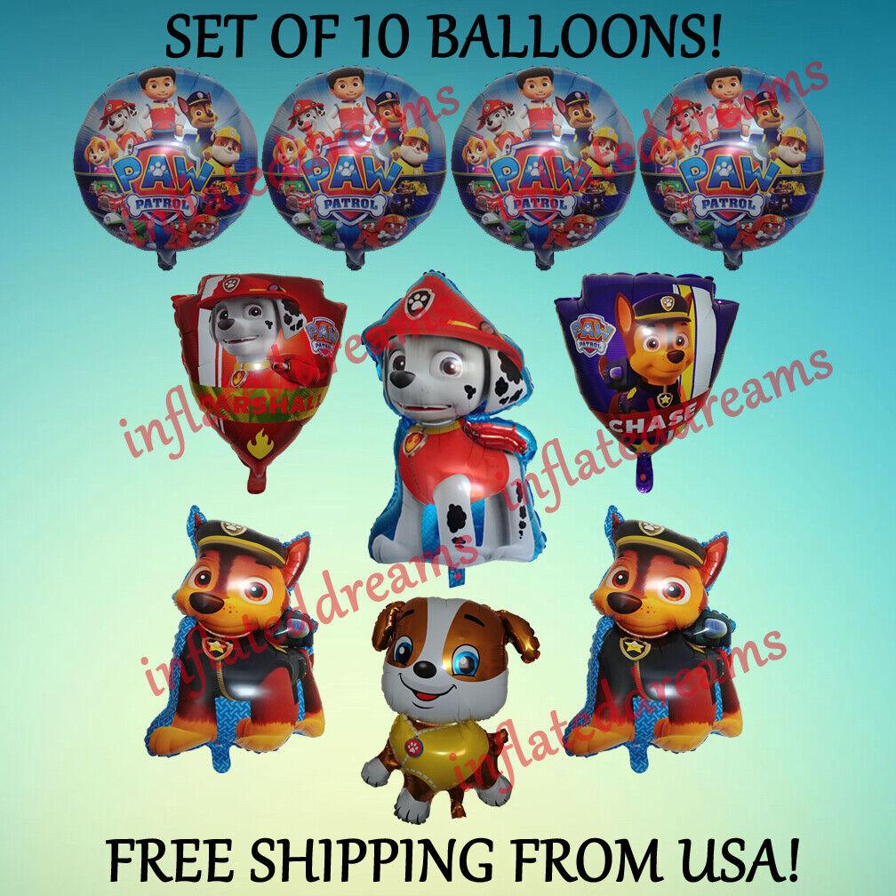 10 Pc ~PAW PATROL~ Balloon Set Rubble Marshall Chase Nickelo