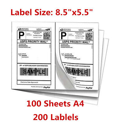 Labels 8.5x5.5 200 Shipping 8.5x5.5 Half-sheet Self Adhesive For Usps Fedex