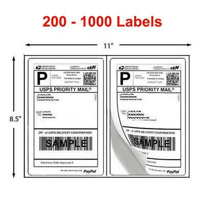 200 - 1000 Shipping Labels 8.5 X 5.5 Half Sheets Blank Self Adhesive 2 Per Sheet