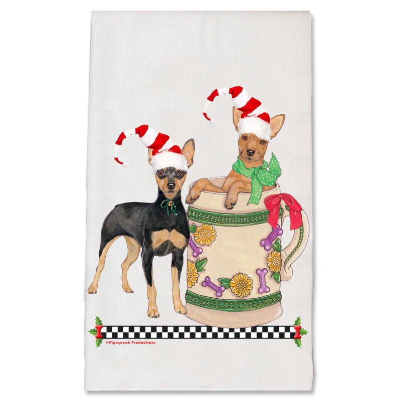 Miniature Pincher Min Pin Dog Christmas Kitchen Towel Holiday Pet Gifts