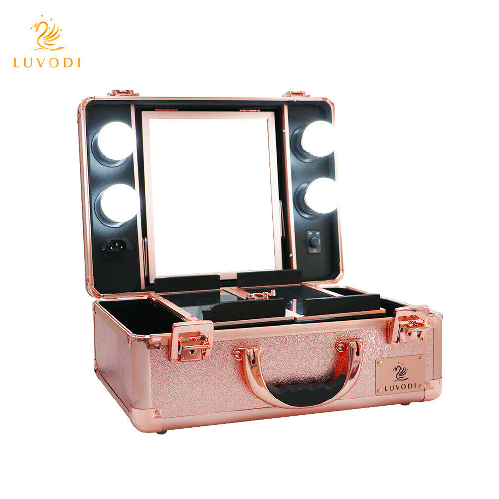 Cosmetic Makeup Box Case Dimmable LED Light Mirror Beauty Nail Storage UK Plug