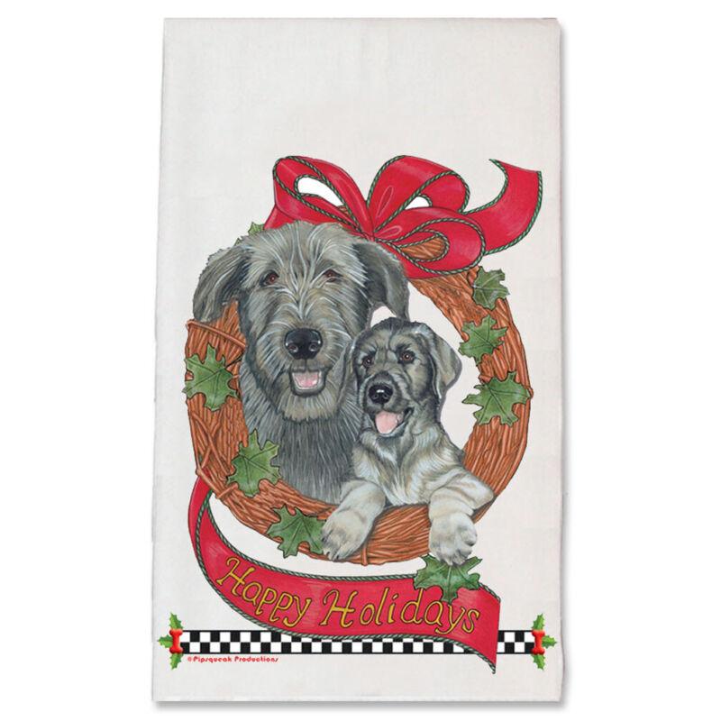 Irish Wolfhound Wreath Christmas Kitchen Towel Holiday Pet Gifts