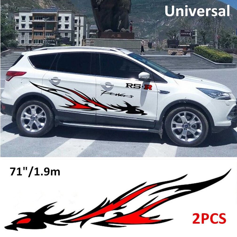 2PC Flame Dragon Totem Modified Auto Car SUV Side Body Vinyl Film Decal Stickers