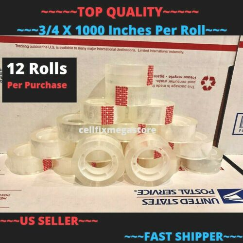 """12x ~WHOLESALE LOT~ 3/4"""" x 1000"""" Crystal Clear Transparent Tape Dispenser Refill"""