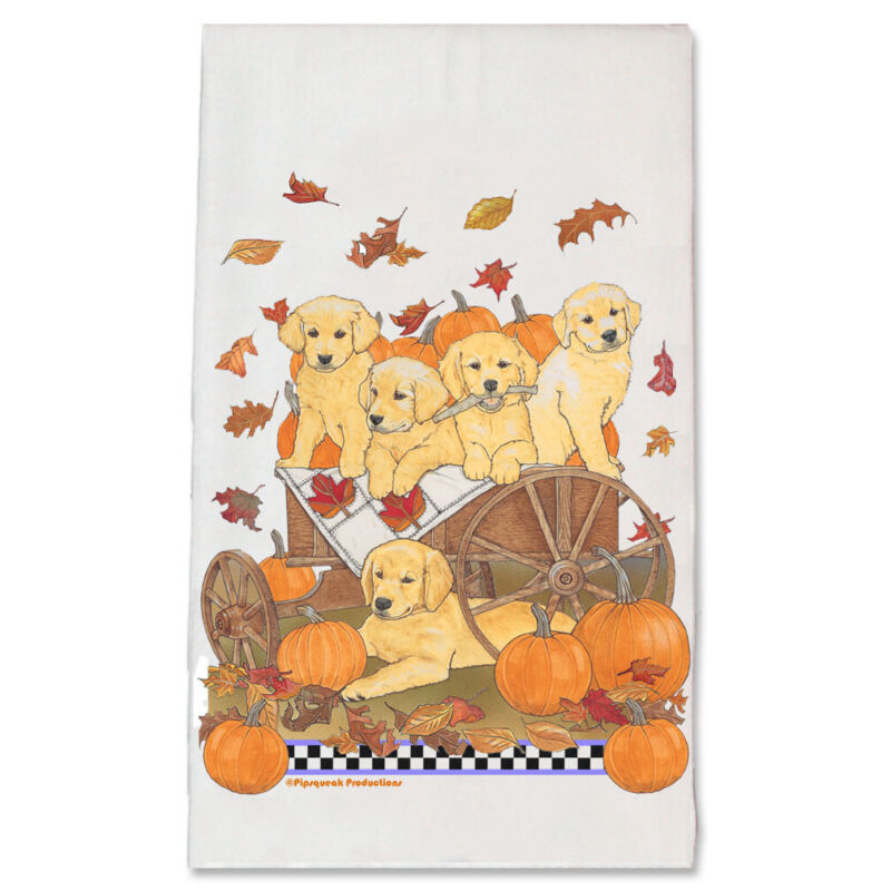 Golden Retriever Pumpkin Ride Kitchen Dish Towel Pet Gift