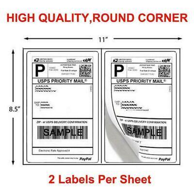 200-1000 Half Sheet 8.5x5.5 Shipping Labels 2sheet Self Adhesive Round Corner