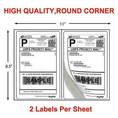 200-1000 Half Sheet 8.5x5.5 Shipping Labels 2/Sheet Self Adh