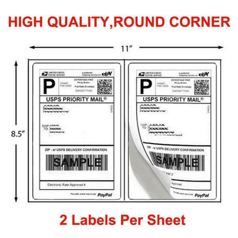 200-1000 Half Sheet 8.5x5.5 Shipping Labels 2/Sheet Self Adhesive Round Corner