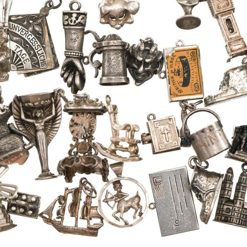 Vintage Sterling Silver Bracelet CHARM Wigglers Movers Antique Puffy lot old