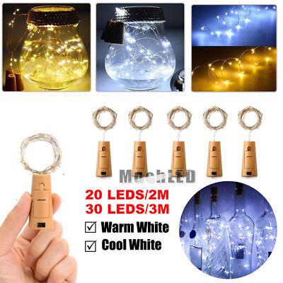 (20/30 LED Wine Bottle Cork Shape Lights Night Fairy String Light Lamp Xmas Party)