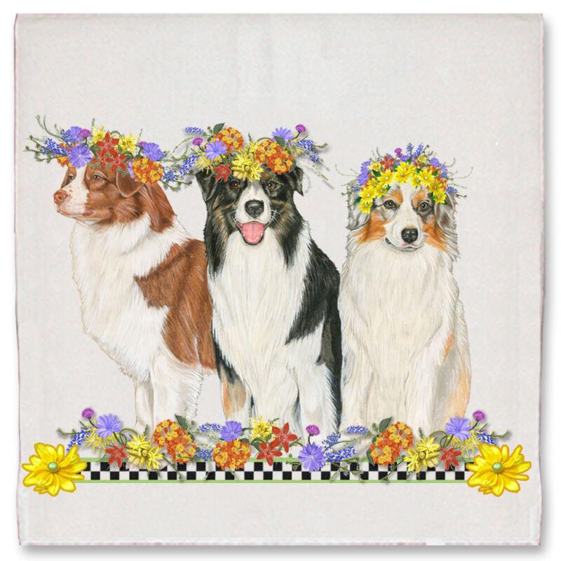 Australian Shepherd Aussie Dog Floral Kitchen Dish Towel Pet Gift