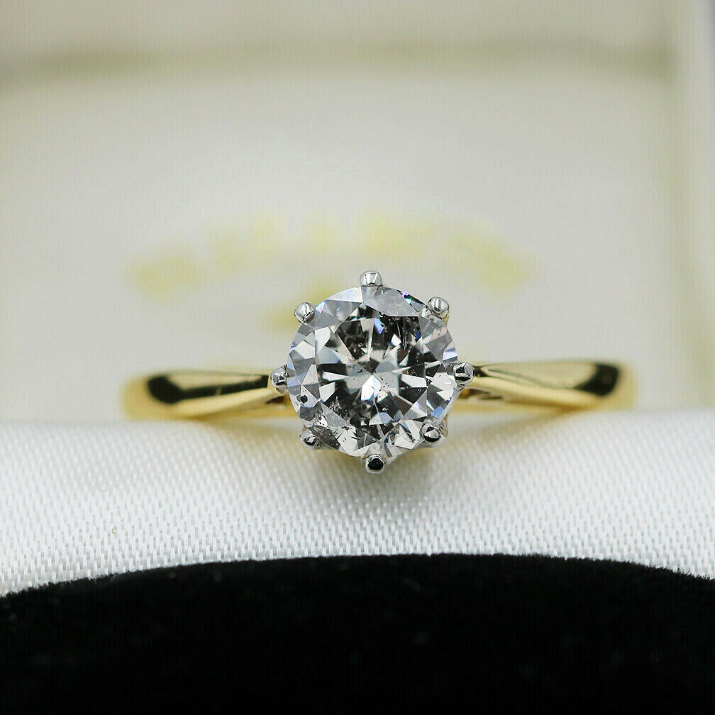 Vintage 18ct Yellow Gold and Platinum, Solitaire 0.81ct Diamond Ring Size K
