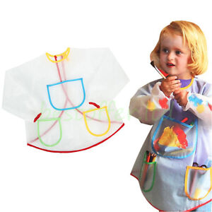 CHILDREN KIDS ART CRAFT LONG SLEEVE SMOCK APRON FOR PAINTING COOKING SCHOOL HOME