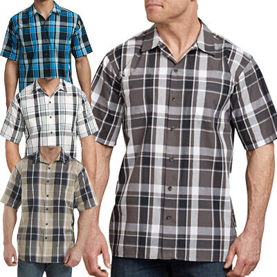 Dickies Shirts Mens Short Sleeve Plaid Icon Relaxed Fit Yarn Dyed Camp Shirt Yarn Dyed Plaid Shirt