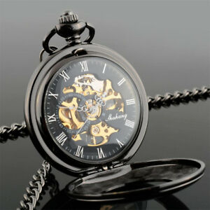 Men Antique Black Gold Steampunk Open Face Mechanical Pocket Watch Chain Pendant