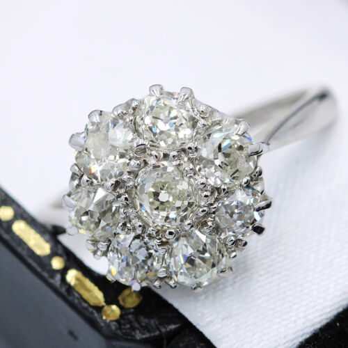 Antique 18ct White Gold, 1.90ct Old Cut Diamond Cluster Ring