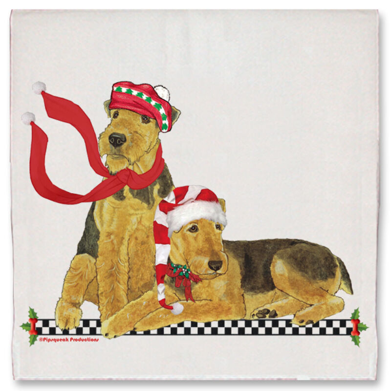 Airedale Terrier Dog Christmas Kitchen Towel Holiday Pet Gifts