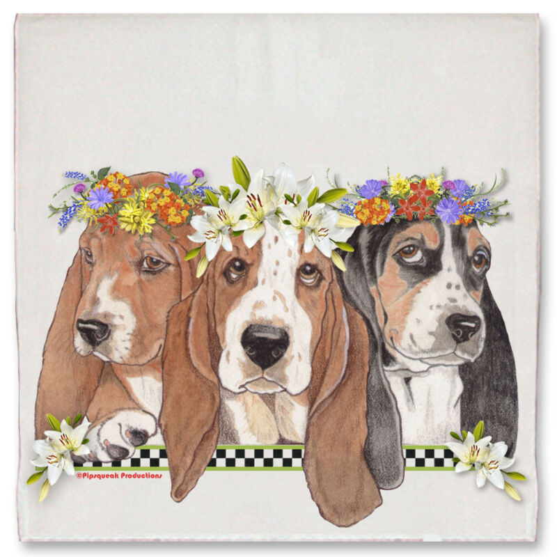 Basset Hound Dog Floral Kitchen Dish Towel Pet Gift