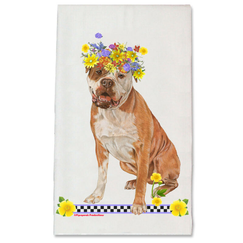 American Bulldog Dog Floral Kitchen Dish Towel Pet Gift