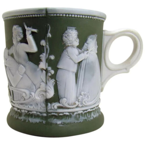 Jasperware Shaving Mug with Barber Scenes - Rare