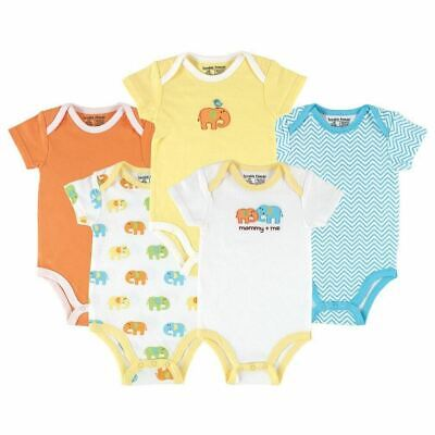Luvable Friends Boy and Girl Bodysuits, 5-Pack, Neutral Elephant