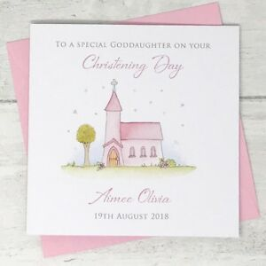Handmade Personalised Christening Card Goddaughter Daughter Niece Granddaughter