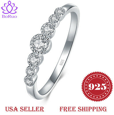 925 Silver Eternity Ring (BORUO 925 Sterling Silver Ring Cubic Zircon Eternity Engagement Wedding)