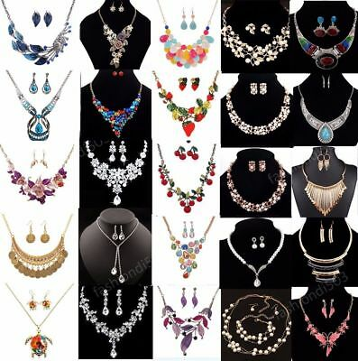 Women Chain Pendant Choker Bib Crystal Charm Statement Necklace Set (Chain Set Pendant)