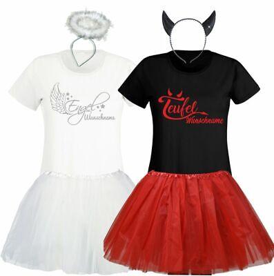 Engel Teufel Kostüm Damen T-Shirt Karneval Gruppe individuell Tütü/Rock Freundin