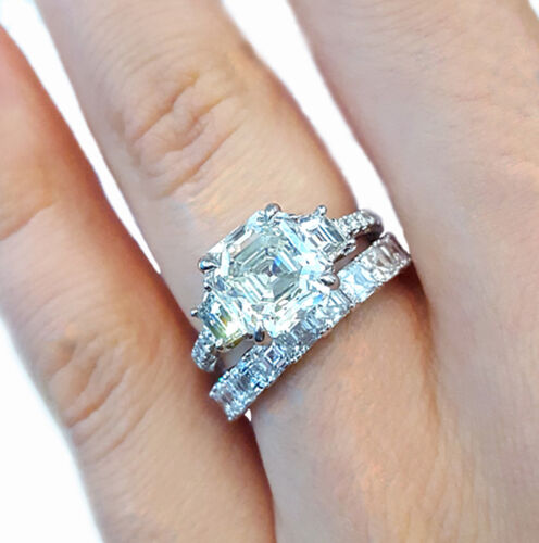 Asscher Cut Diamond Bridal Ring Set GIA Certified 18k white Gold 5.50 Carat