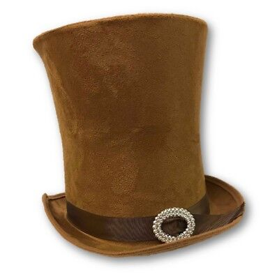 Mad Hatters Hat (Deluxe Steampunk Mad Hatter Brown Faux Suede Top Hat Adult Costume)